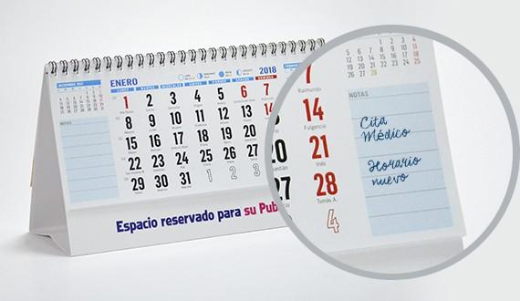 modelo notas laterales calendario sobremesa