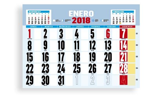 interior calendario de pared con varilla y faldilla personalizable modelo 470