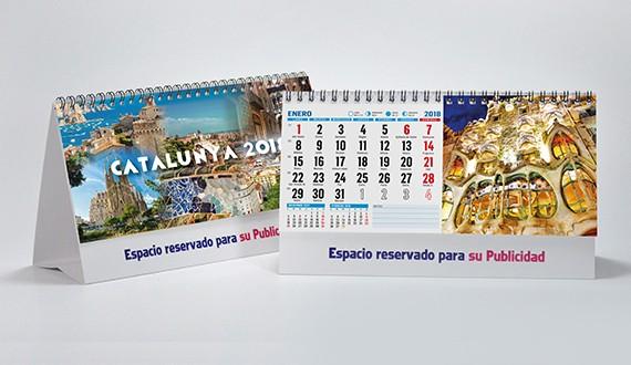 interior y portada calendario con fotos de Cataluña de sobremesa