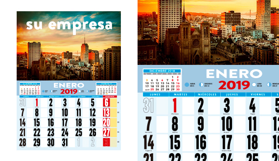 calendarios de pared 2019
