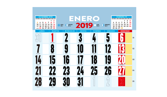 calendario de pared de varilla 2019