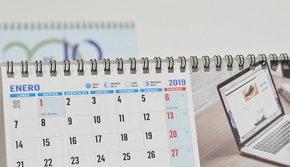 calendarios con notas 2019