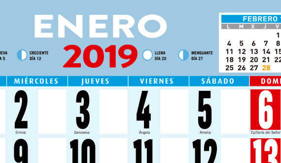 calendarios 2019 pared festivos nacionales