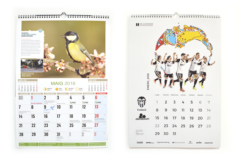 calendario pared wire-o