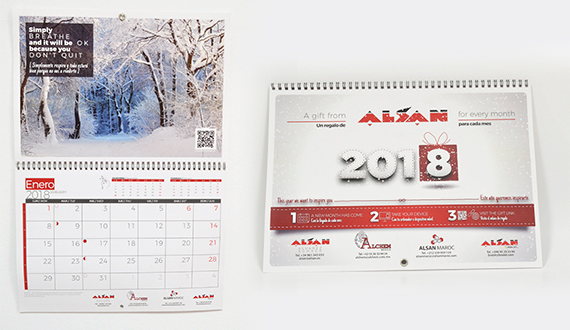 calendario pared encuadernado personalizado