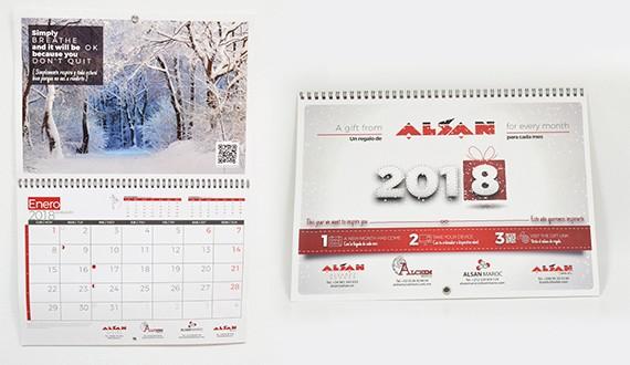 calendario pared encuadernado personalizado
