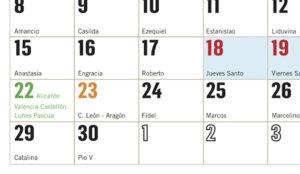 calendario con festivos 2019