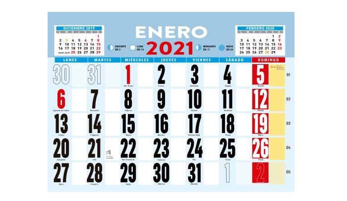 CALENDARIO 2021 DE PARED MEDIDA A0